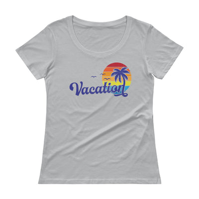 Vacation Distressed Retro Graphic Ladies' Scoopneck T-Shirt