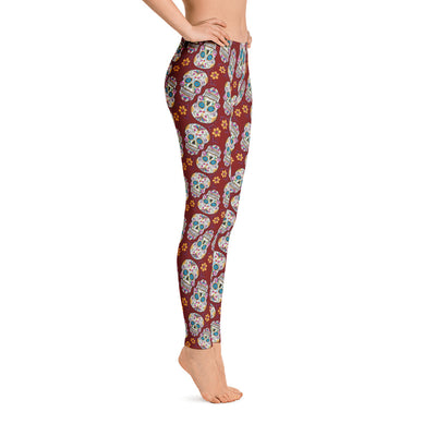 Sugar Skull Day of The Dead GARNET Leggings