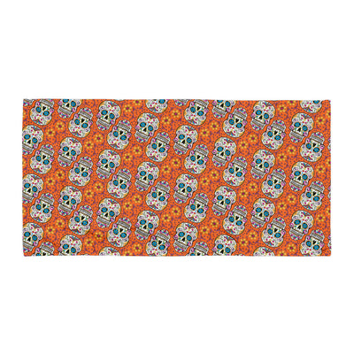 Sugar Skulll Day of The Dead ORANGE Towel