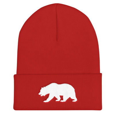 California Bear Embroidered Bear Cuffed Beanie