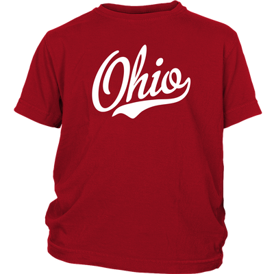 Ohio Script Font White Youth T-Shirt