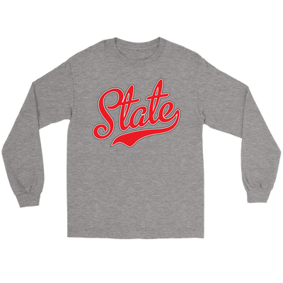 State Script Red Long Sleeve Tee