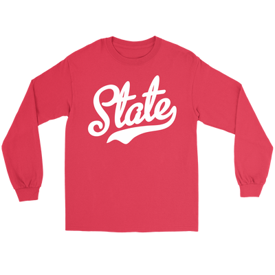 State Script White Font Long Sleeve Tee