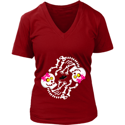 Halloween Maternity Twin Girls Baby Skeleton Halloween V-Neck T-shirt