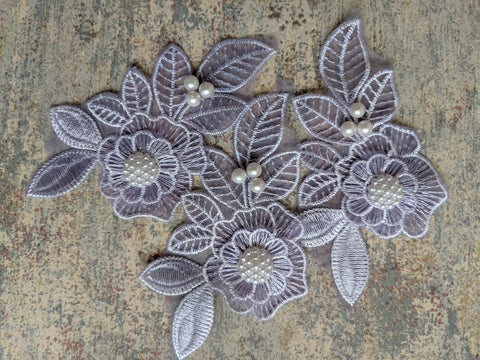 Purple flower applique