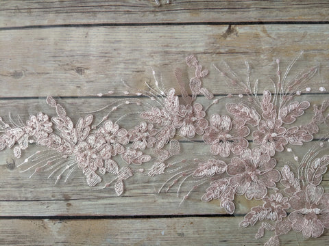 Sequins beaded applique Pink