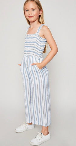 Dusty Blue Stripe Smocked Palazzo Jumpsuit