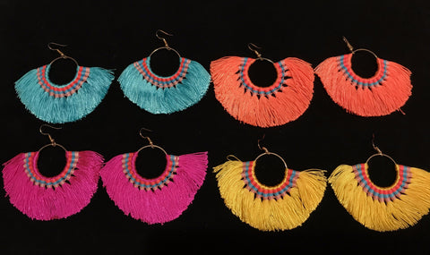 Neon Tassel Fiesta Earrings - 4 color options