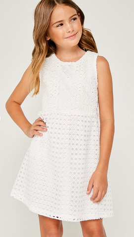 Off White Crochet Lace Shift Dress