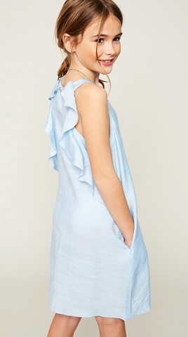 Baby Blue Sleeveless Dress With Back Ruffle