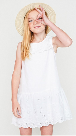 Off White Sleeveless Eyelet Baby Doll Dress