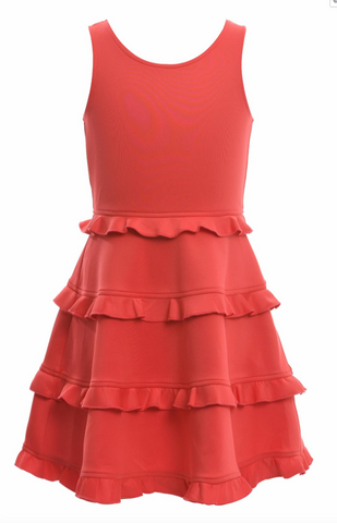 Coral Fit & Flare Tiered Dress