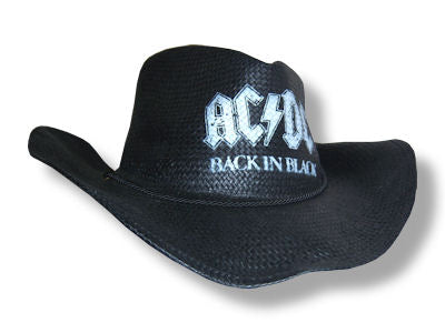 AC/DC - Back In Black Straw Cowboy Hat