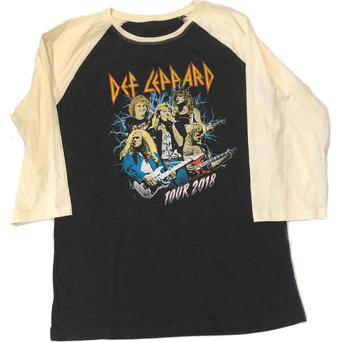 Def Leppard - 2018 Tour Photo - Baseball Jersey Tee (UK Import)