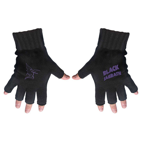 Black Sabbath - Purple Logo & Devil - Fingerless Gloves (UK Import)
