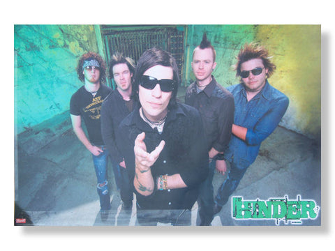 Hinder - Green Logo Group Photo Rolled - Poster