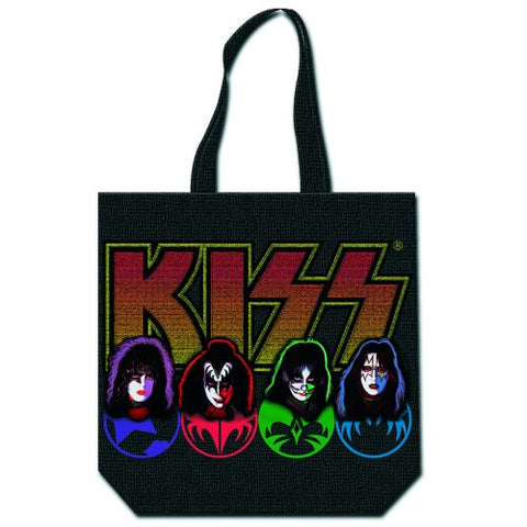 KISS - Faces & Logo Zip Top Cotton Tote Bag (UK Import)