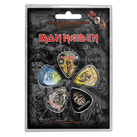 Iron Maiden - Faces Of Eddie Guitar Pick Set - 5 Picks - UK Import - Licensed New In Pack