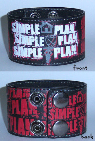 Simple Plan - Repeat Logo Leather Wristband