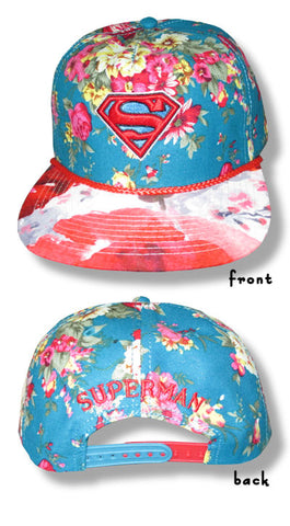 Superman - Floral Print Snap Back Hat