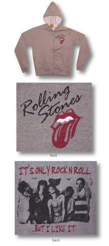 Rolling Stones - Rock & Roll Zip Up Juniors Girl's Cut Hoodie