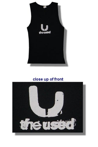 The Used - Black With White Logo Juniors Girly Tank Top