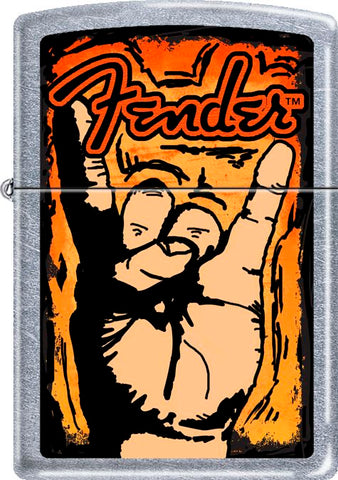 Fender - Rock Hand - Chrome - Flip Top - Zippo Lighter
