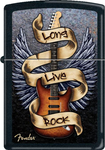 Fender - Long Live Rock Black Matte - Flip Top - Zippo Lighter