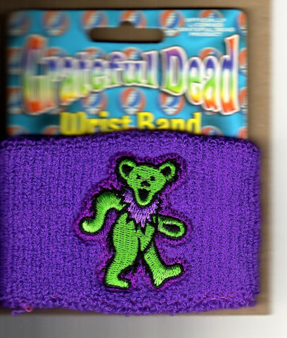 Grateful Dead - Wristband - Bear Logo - Terrycloth - Sweatband Purple