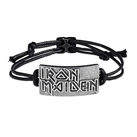 Iron Maiden - Pewter Leather Logo Bracelet Wristband (UK Import)