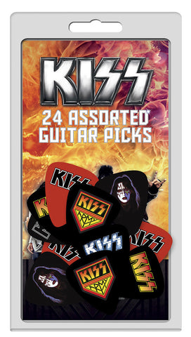 KISS - Guitar Pick Set - 24 Picks -Assorted Designs- Licensed New in Pack