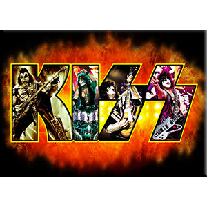 KISS - Fire Demon With Image Fridge Magnet