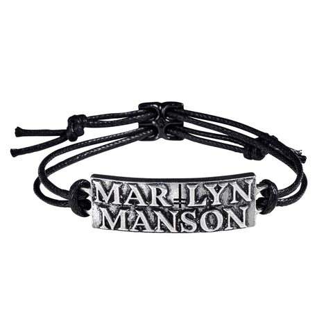 Marilyn Manson - Pewter Leather Logo Bracelet Wristband (UK Import)