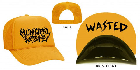 Municipal Waste - Yellow Black Logo Wasted Trucker Hat