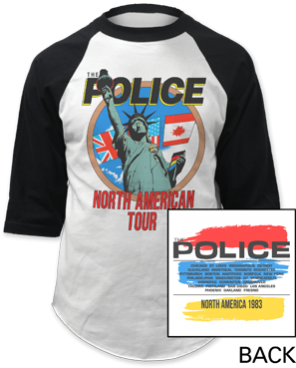 The Police - North American Tour Baseball Jersey Tee