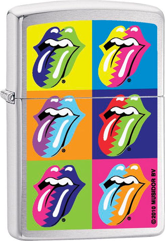Rolling Stones - Brushed Chrome - Flip Top - Zippo Lighter