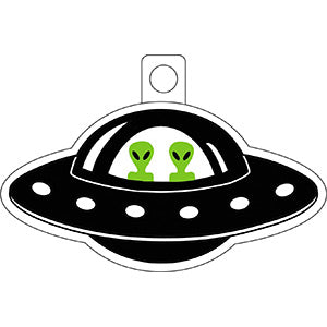 Alien Theme - UFO With Aliens - Sticker