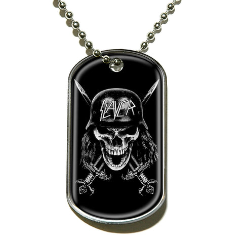 Slayer - Necklace-Pendant -Dog Tag-Skull Logo-Collector's-UK Import