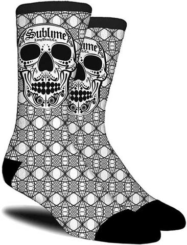 Sublime - Socks - One Pair-Black White Skull-LBC-Licensed-New