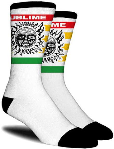 Sublime - Socks - One Pair-Rasta Sun-LBC-Premium Crew- Licensed-New