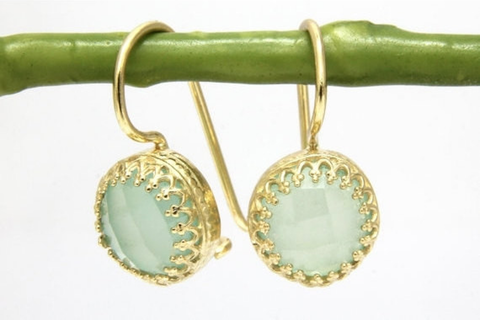 Delicate aqua chalcedony earrings