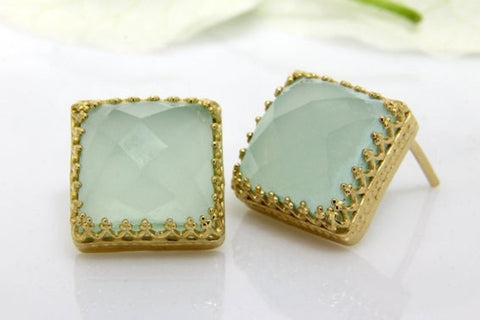 Gold Aqua Chalcedony earrings
