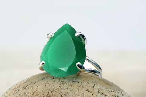 925 silver and green onyx ring