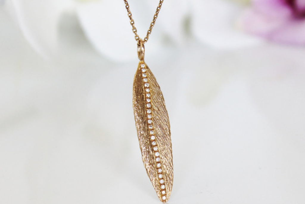 14k gold diamond feather necklace