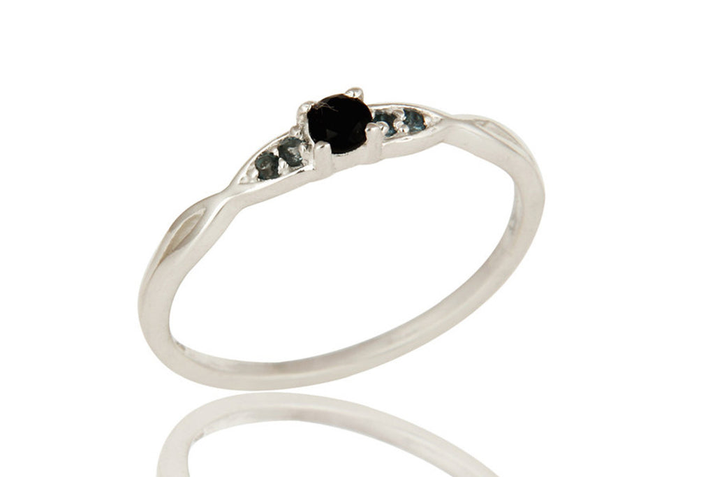 Black Onyx And Blue Topaz London Gemstone Sterling Silver Stacking Ring