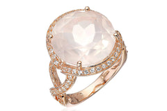 Rose Gold-Plated Sterling Silver, Rose Quartz, and Created White Sapphire Ring, Size 7