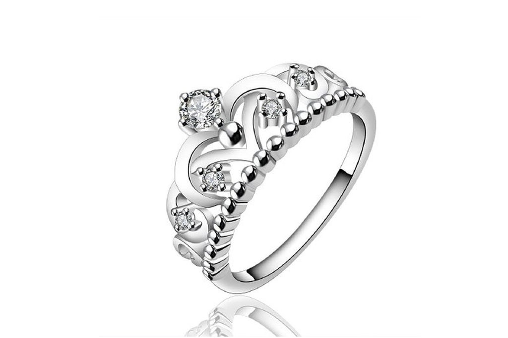 Fashion 925 sterling silver jewelry imperial crown luxury elegant party ring, size 7