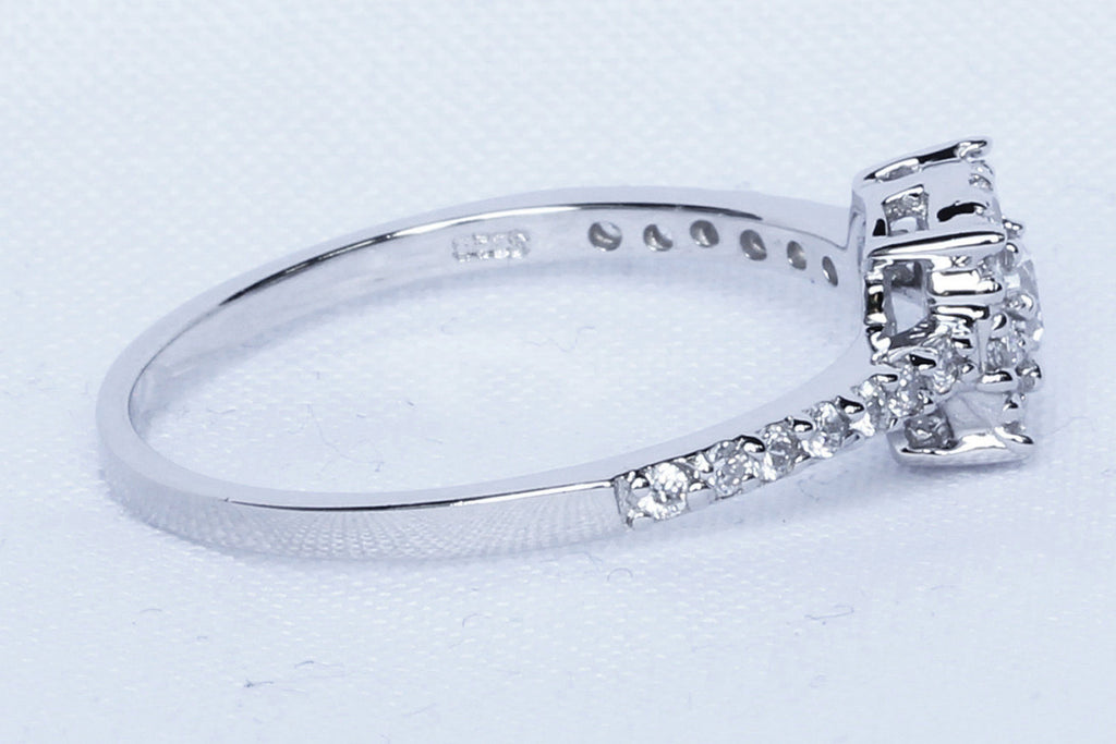 Natural white sapphire solitaire engagement ring