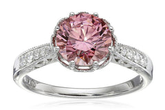 Royale Sterling Silver Pink and White with Swarovski Zirconia Round Ring