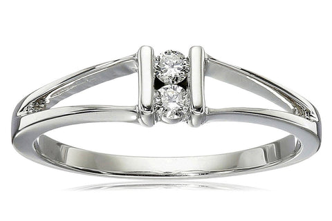 10k White Gold 2-Stone Split-Bale Diamond Ring (0.08 cttw, J-K Color, I2-I3 Clarity)